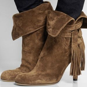 Chloe Brown Suede Wrap Around Fringe Ankle Boot